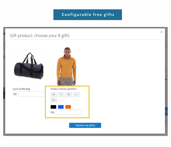 magento 2 free gift extension offer configurable gifts