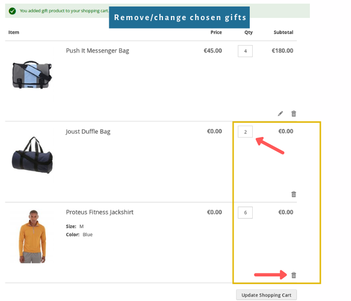 magento 2 free gift extension remove or change gifts