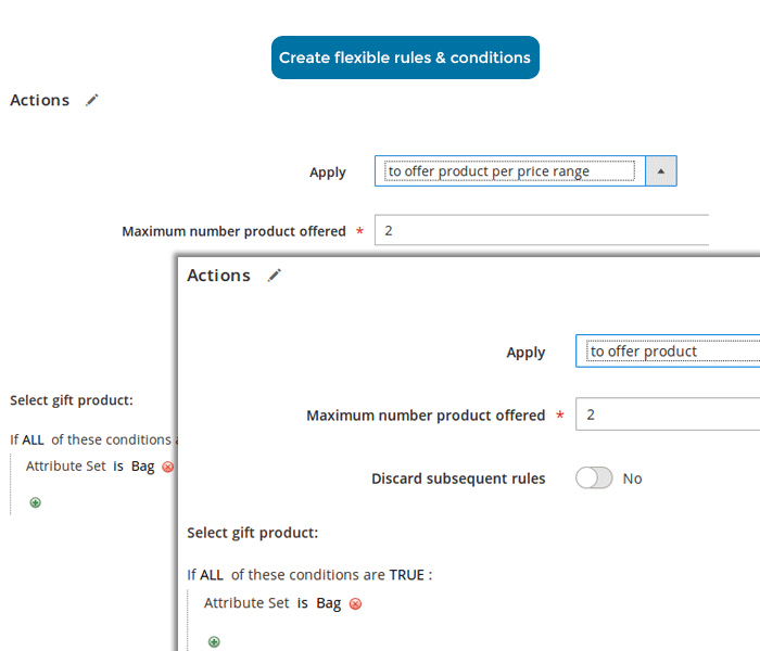 magento 2 free gift extension create multiple rules with conditions