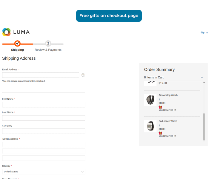 magento 2 free gifts on checkout page