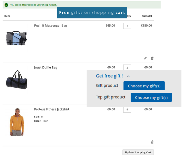 magento 2 free gift extension show gifts on shopping cart