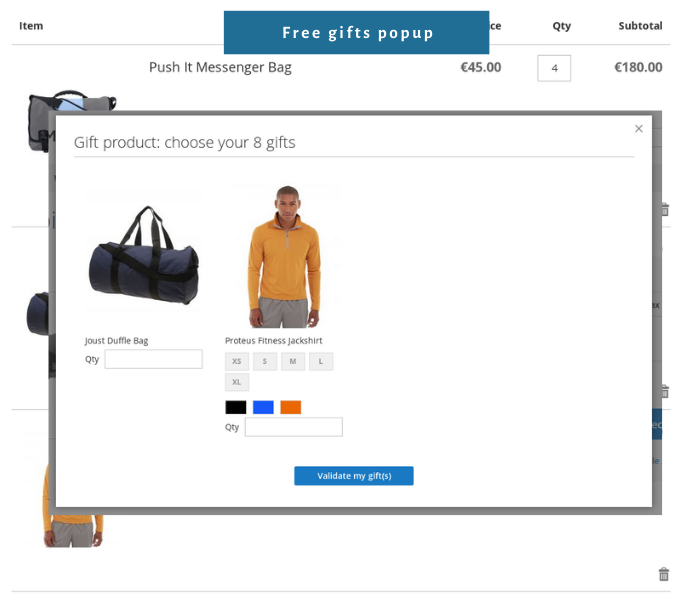 magento 2 free gift extension with gifts popup