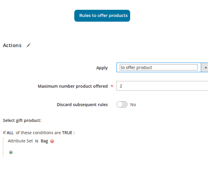 magento 2 free gift apply rule to offer product