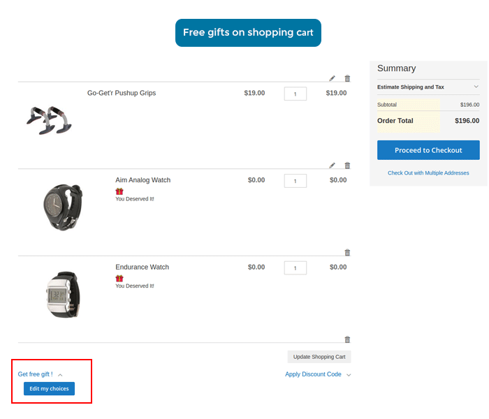 magento 2 free gift show on shopping cart