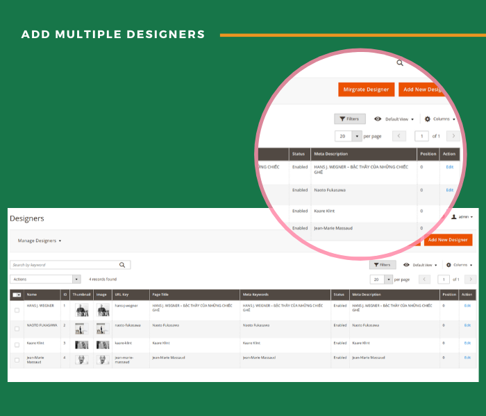 Magento 2 designer add multiple product designers