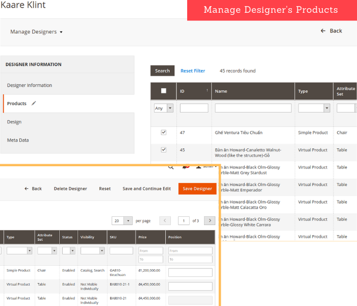 Magento 2 designer manage designer's products