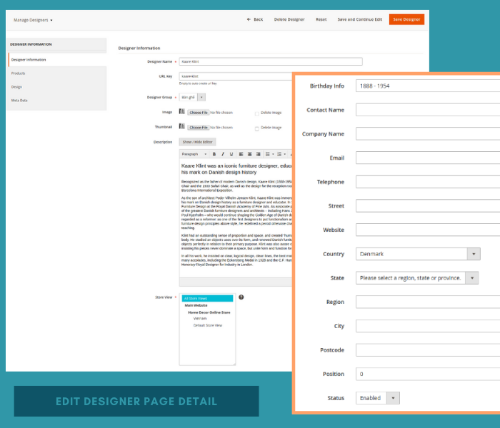 Magento 2 designer add or edit designer page details