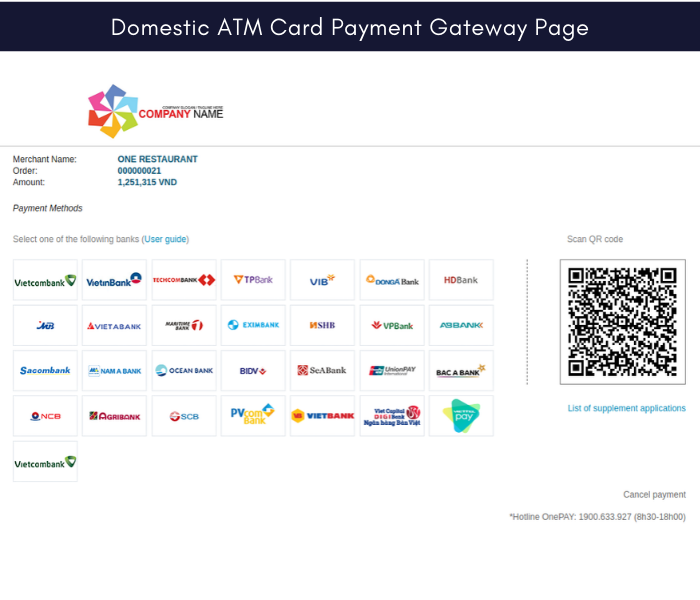 Magento 2 onepay domestic atm card payment gateway page