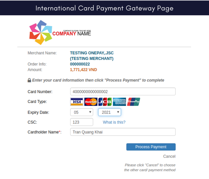 Magento 2 onepay international card payment gateway page