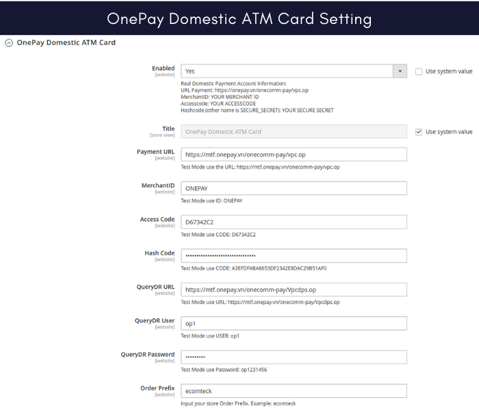 Magento 2 onepay payment gateway domestic card setting
