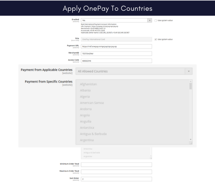 Magento 2 onepay payment gateway for countries