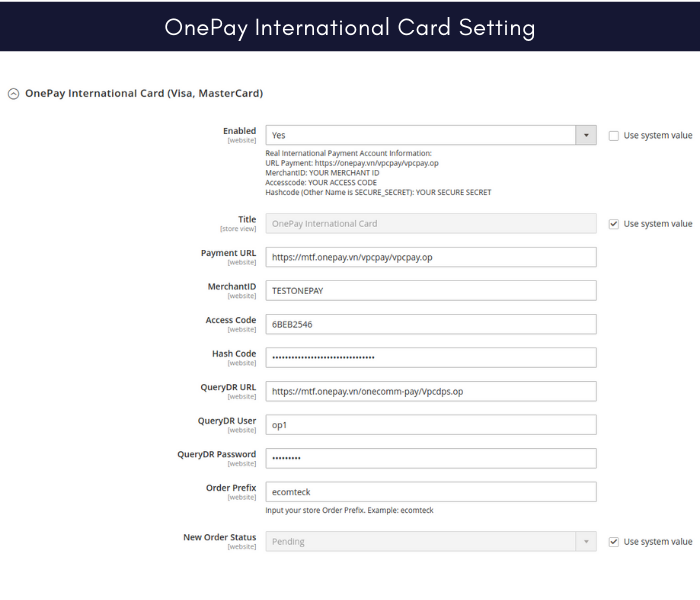 Manage 2 onepay payment gateway international card setting