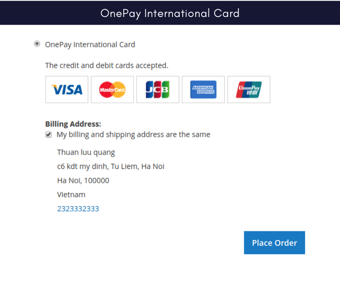 magento 2 onepay payment gateway international card