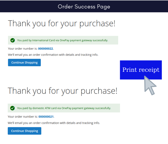 Manage 2 onepay payment gateway success order page