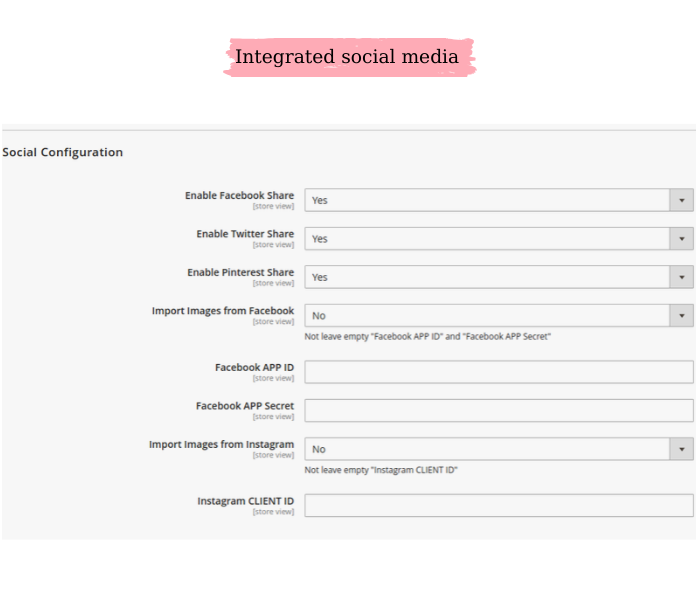 magento 2 product designer social settings