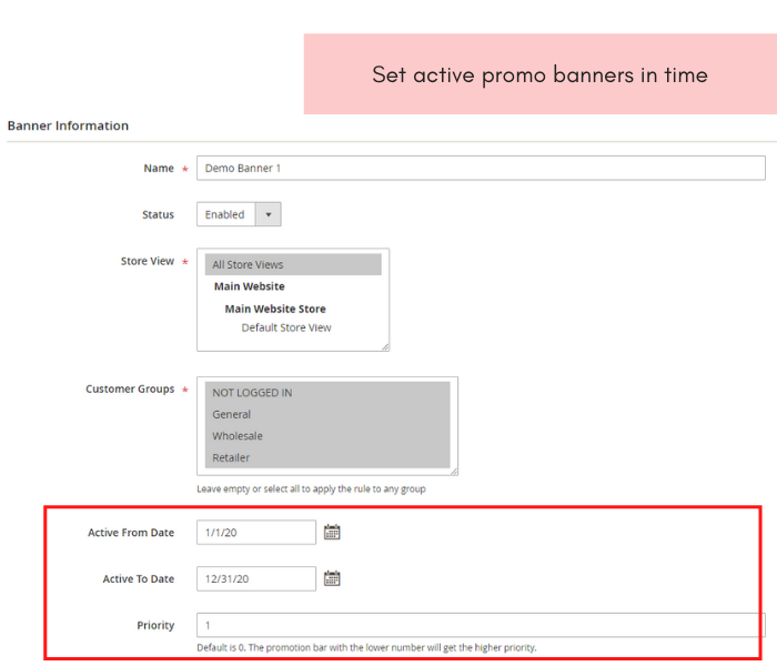 magento 2 promotion bar set active time