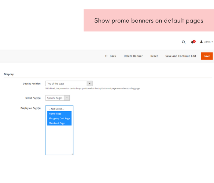 magento 2 promotion bar show promo banners on default pages