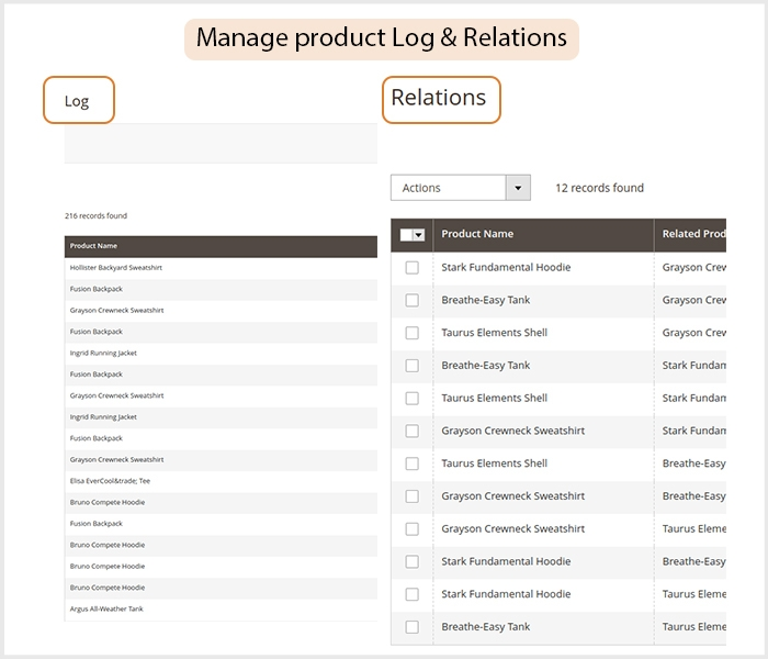 Manage related product log & relation