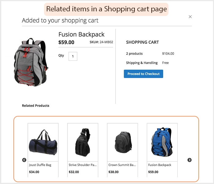 Auto suggest products after adding products into cart