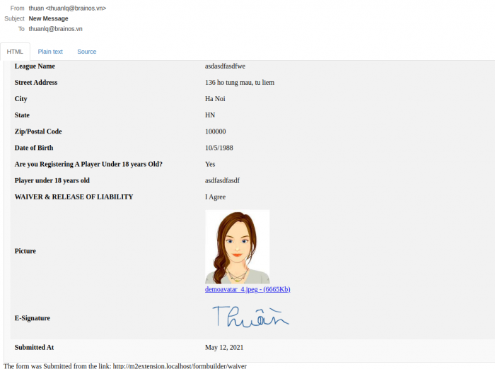 digital signature from email content