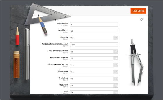 Customizable product slider