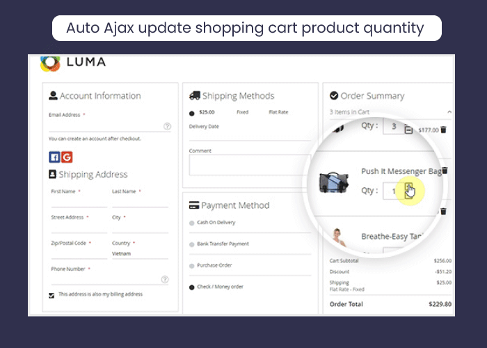 Auto Ajax update shopping cart product quantity