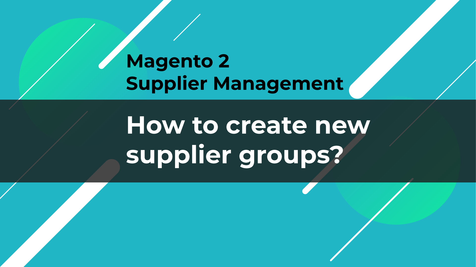 add new supplier groups