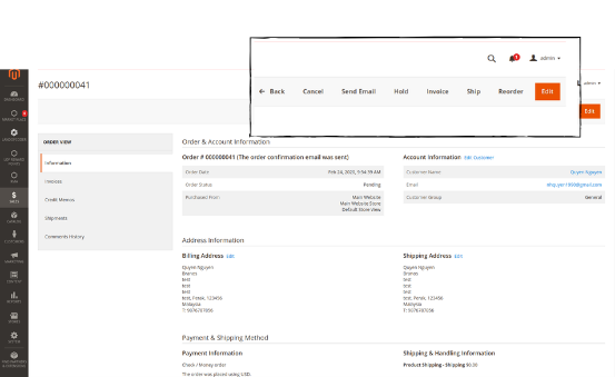 Admin can generate invoice and shipment for each order ID of individual seller