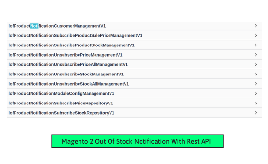 Magento 2 product notification rest api list