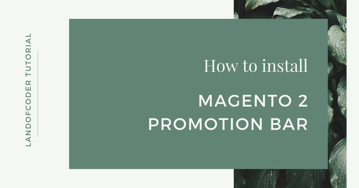 How to install Magento 2 Promotion Bar